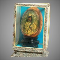 """Small Religious  Icon in Glass Case Our Lady of Perpetual Help Icon 3"""" Case 5"""""""