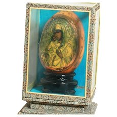 "Small Religious  Icon in Glass Case Our Lady of Perpetual Help Icon 3"" Case 5"""