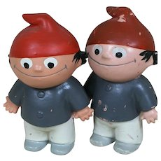 These Small vinyl Rubber dolls are Mainzelmännchen Cartoon Little Men from German TV 1965+