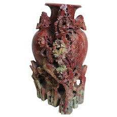 Large Antique Chinese Red Soapstone Vase  Carved Bird and Flowers