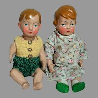 "Composition Dolls Boy & Girl Jointed  French Early 1900's  12 To 13"" Tall"