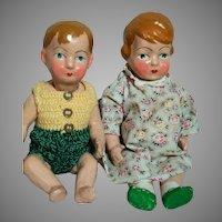 """Composition Dolls Boy & Girl Jointed  French Early 1900's  12 To 13"""" Tall"""