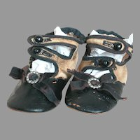 Old Doll Shoes Black & Cream  Two Straps with Black Original shoe buttons 4""