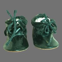 """Antique Black Leather Doll Shoes Marked Made In German 3-1/2 """""""