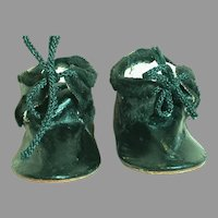 Antique Black Leather Doll Shoes Marked Made In German 3-1/2 ""