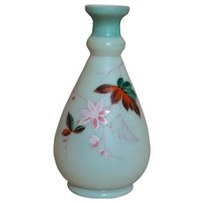 Small Bristol Vase Blue & White with Enameled Flowers and leaves 6-1/4""