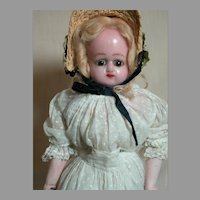 Antique Wax Doll with Bisque Arms and Bare Feet 1800's  17""