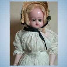 """Antique Wax Doll with Bisque Arms and Bare Feet 1800's  17"""""""