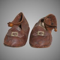 Antique Brown Leather Doll Shoes Original shoe buttons