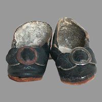 """Antique Leather French Bebe Doll Shoes Marked 0  Small Doll Shoes 1-1/4"""""""