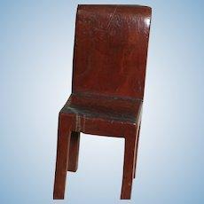 "Unusual Antique Dollhouse Wood Chair  One Piece  beautiful wood Grain 4-1/2"""