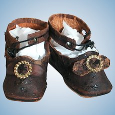 """Antique Doll Shoes Dark Brown Leather   Marked 7    2""""X 1"""""""
