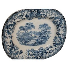 Royal Staffordshire Tonquin by Clarice Cliff Blue & White Platter Made n England 12 X10