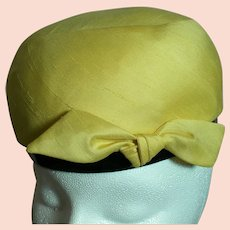 Schiaparelli Jr  Paris Label Yellow Woman's Hat With a Black Band and a Bow
