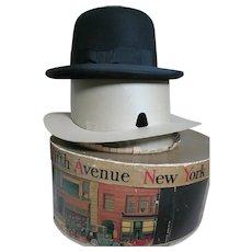Vintage Dobbs Bowler Navy Blue Men's Hat in  Original Box Size 7