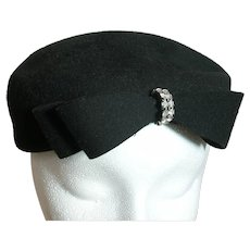 Vintage Black Wool Woman's Hat with Rhinestone Ring on Bow Henry Pollack Ritz Valerie