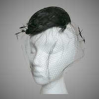Vintage black Feather Pill box Woman's Hat with Feathers in the Netting by Miss Sally Victor