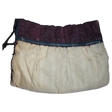 """Antique Ladies Muff Bed Contains  Sterilized Down Front has lost Fabric 15"""" X 11"""""""