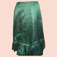 "Iridescent Green Black Stripe  Vintage Ladies  Silk  Skirt  38 "" long"
