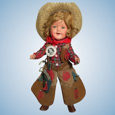 "Ideal Composition Shirley Temple Doll rare size  11"" Cowgirl or Ranger  Outfit"