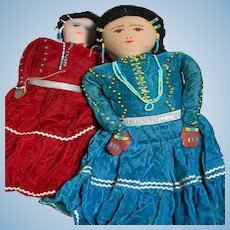 """2 Vintage Cloth Indian Made dolls   14"""" to 17"""" tall  Trimmed with beads"""