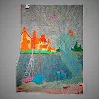 Large Folk Art Creation  Needle work Colorful  Village & Boats  38 X 28