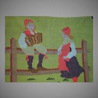 Early Folk Art Needle Work of Scandinavian Courting Couple  1800s