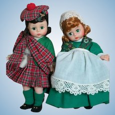 "Two Madame Alexander Dolls  Scottish and Irish  8""  1960's"