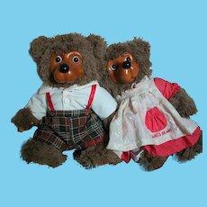 "Robert Raikes Bears   Jack and Jill Wood Faces Stuffed Body's   15"" tall"