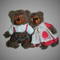 "Robert Raikes Bears   Jack and Jill Wood Faces Stuffed Body's   15"" tall"