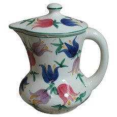 Antique Porcelain Pitcher with lid Hand Painted Tulips marked Drs.21.44 Hand Painted Germany