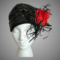 Ladies Black Straw Flapper Hat with Red Rose