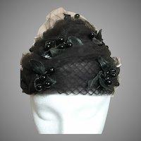 Vintage Ladies  Hat Black Netting with Black Leaves and Black Berries