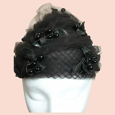 Vintage Ladies  Hat Black Netting with Black Leaves and Black Berries