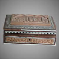 """Old Carved Wood Box With hinged Lid Carved Taj Mahal with Inlaids   7"""" X 2-3/4"""""""