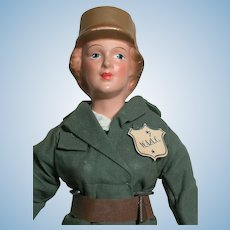 """Freundlich Military Doll W.A.A.C 1942 Composition Molded Hat Original Clothes & Tag 15"""""""