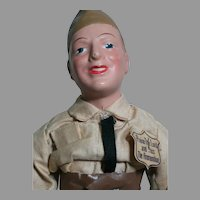 """Freundlich Doll Military Man 1942 Composition Molded Hat Original Clothes & Tag 15-1/2 """""""