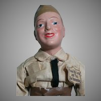 Freundlich Doll Military Man 1942 Composition Molded Hat Original Clothes & Tag 15-1/2 ""