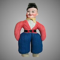 """Unica Patent Dutch Peasant Country Belgium  Boy Doll with a Pipe  All Original 13"""" 1940's"""