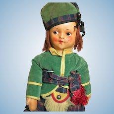 "Genuine Georgene Cloth Doll Scottish Boy Great Original Outfit  18"""
