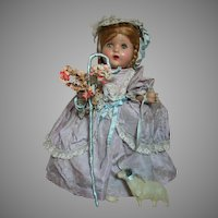 """Composition Doll  Factory Original  Bo-Peep Outfit with Staff & Lamb   1930's  15"""""""