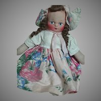 "Cloth Doll Mask Face Original Dressed Dutch Girl  11"""