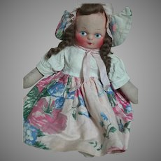 Cloth Doll Mask Face Original Dressed Dutch Girl  11""