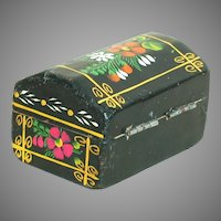 "Small Toll Painted Wood Hinged Box  Black with Floral Satin Finish  2-3/4"" X 1-!/2"""