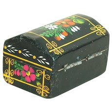 "Small Toll Painted Wood Hinged Box  Black with Floral  2-3/4"" X 1-!/2"""
