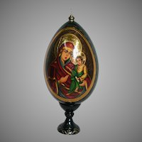 Hand Painted Russian Lacquered  Wood Egg of Mother of God Virgin Mary & Jesus on Stand