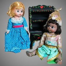 "Madame Alexander Dolls Miss Muffet & Thailand 8"" & Doll Cupboard Furniture"