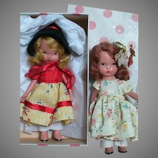 Nancy Ann Bisque Storybook 2 Dolls one is #114 To Grandma's House in Original