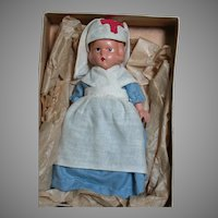 "Composition Doll Red Cross Nurse Painted Features Story book Type 6-1/2"" 1940's"