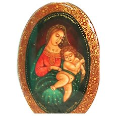Hand Painted Russian Lacquered  Brooch Madonna and Child